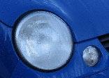 Blue car and headlight