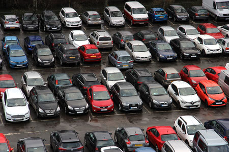 second hand cars parked